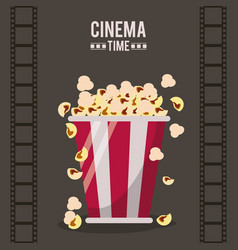 Colorful poster of cinema time with film tape in vector
