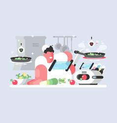 Cook in white cap prepares delicious dish vector