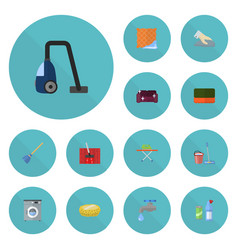 flat icons towel housekeeping sponge and other vector image vector image
