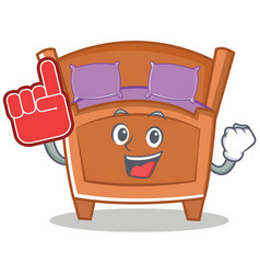 Foam finger cute bed character cartoon vector