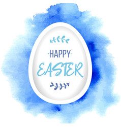 Happy easter greeting paper egg with lettering on vector