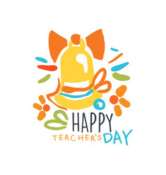 Happy teachers day label back to school logo vector
