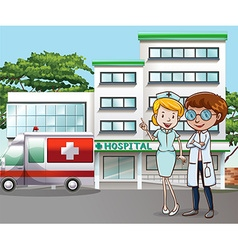Hospital and doctor vector image vector image