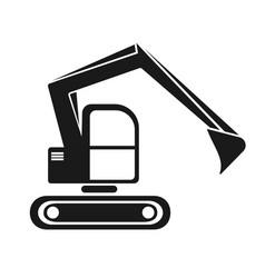 hydraulic crawler excavator black silhouette vector image