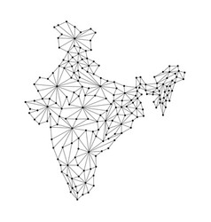 india map of polygonal mosaic lines rays and dots vector image vector image
