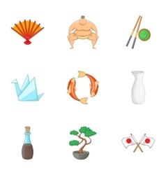 Japan elements icons set cartoon style vector