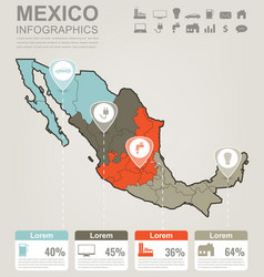 mexico map with infographic elements infographics vector image vector image