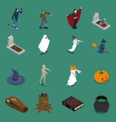 monster halloween isometric icon set vector image vector image