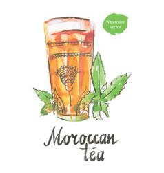 moroccan tea watercolor vector image