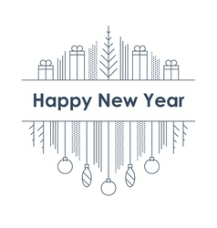 New Year and Christmas linear design vector image vector image