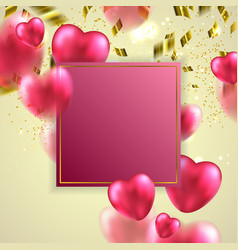 red valentines hearts greeting card vector image