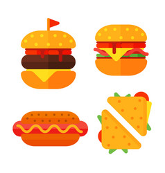 set of colorful cartoon fast food icons isolated vector image vector image