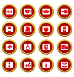 shop navigation foods icon red circle set vector image