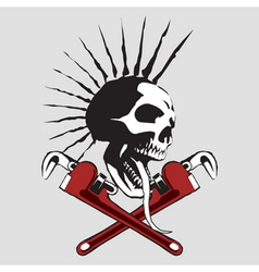 skull pipe wrench vector image