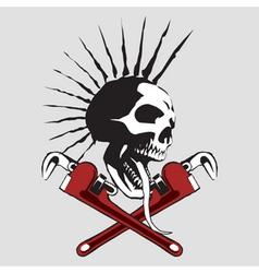 Skull pipe wrench vector