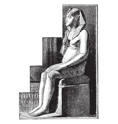 Statue of amenophis iv vintage vector