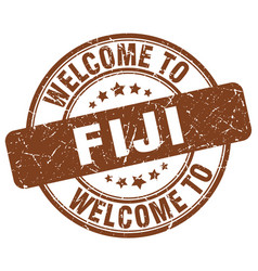 Welcome to fiji brown round vintage stamp vector