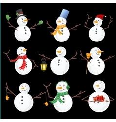 Winter christmas snowmen collection vector