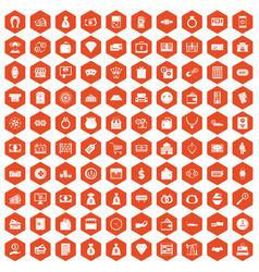 100 money icons hexagon orange vector