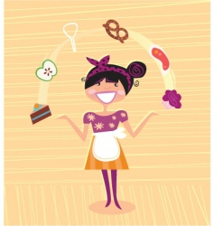 Mother kitchen super hero vector