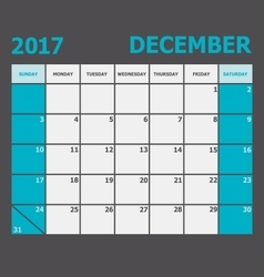 December 2017 calendar week starts on Sunday vector image