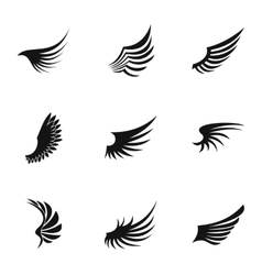 Feather wings icons set simple style vector image