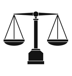 Justice scale icon simple style vector
