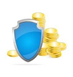 Shield protection of money concept vector