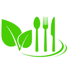 Vegetarian icon with leaves vector