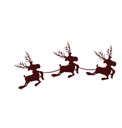 Monochrome silhouette with set of three reindeers vector