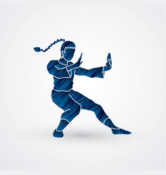 Kung fu fighting action graphic vector