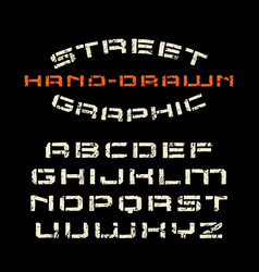 Stencil-plate font in the style of handmade vector