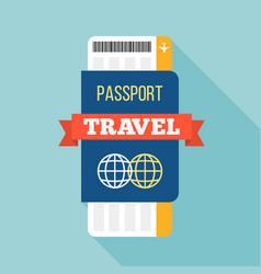 Passport and ticket vector