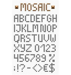 Mosaic uppercase english alphabet vector