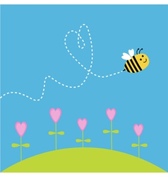 Flying bee dash heart in the sky card vector