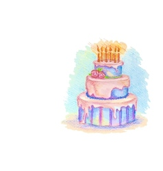 White card with hand drawn birthday cake vector