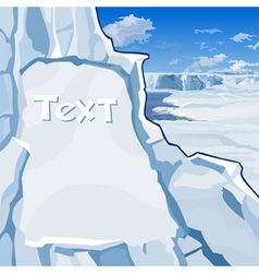 Text hewn in ice cliff on the north vector