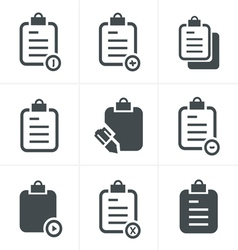 Isolated clipboard list icons set vector