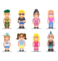 Different subcultures woman in trendy flat style vector