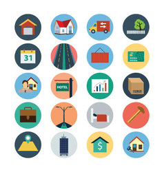 Flat real estate icons 4 vector