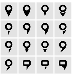 Black map pointer icon set vector