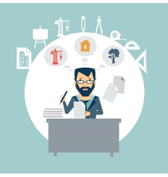Architect sitting documents vector