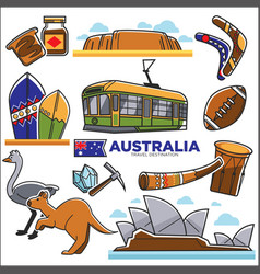australian traditional symbols colorful set vector image
