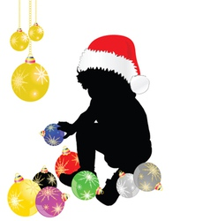 Baby with christmas hat and decoration vector