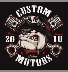 Biker bulldog biker t-shirt design color version vector