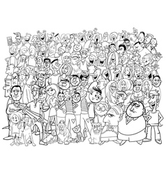 Black and white people large group vector