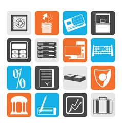 Black bank business finance and office icons vector image