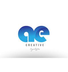 Blue gradient ae a e alphabet letter logo vector