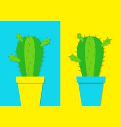 Cactus icon in flower pot icon set desert prikly vector