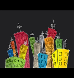 cartoon colored tall skyscrapers suburb vector image